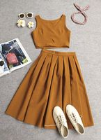 2017 summer new fashion women crop top and skirt sets slim short vest top and high waist pleated skirts two piece set plus size