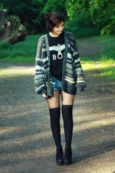 Grunge. Girl. Outfit. Cardigan. Sweater. Stripes. Thigh High Socks. Blue Denim Shorts. BOY. Bird. Boots.