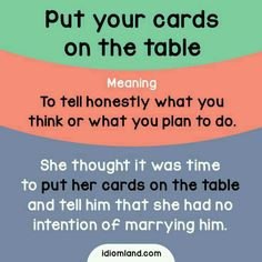 Idiom of the day: Put your cards on the table. Meaning: To tell honestly what you think or what you plan to do. Example: She thought it was time to put her cards on the table and tell him that she had no intention of marrying him. English Fun, English Idioms, English Phrases, Learn English Words, English Study, English Lessons, English Grammar, French Lessons, Spanish Lessons