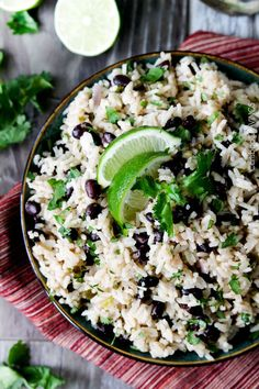 Cilantro Lime Rice and black beans (optional) simmered with jalapenos, green chilies and red onion spiked with lime and cilantro for the most satisfying Mexican rice you will want to serve with everything. Or with nothing because its ts delicious all by itself.
