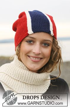 """DROPS hats with flags in """"Karisma"""", worked from side to side. Yarn alternative """"Merino"""". Scarf in """"Alaska""""."""