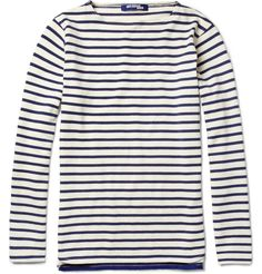 JUNYA WATANABE  LONG-SLEEVED STRIPED COTTON T-SHIRT