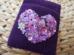 Dark Purple Felt Card Case With Mixed Mauve and Pink Sequin and Bead Heart Crystal Garden, The Dark Crystal, Pink Sequin, Glasses Case, Felt Art, Dark Purple, Card Case, Floral Tie, Mauve