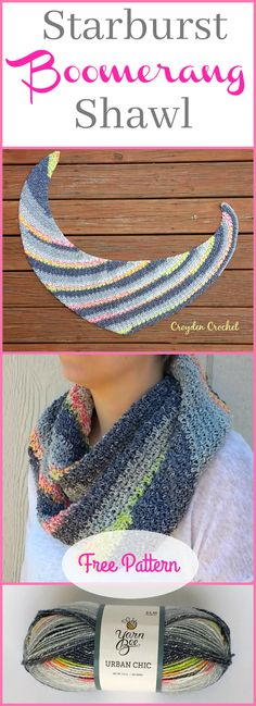 Crochet Shawl The Starburst Boomerang Shawl. A free pattern by Croyden Crochet! - Crochet this beautiful shawl that features the classic boomerang shape! A beginner friendly pattern that works up quickly! Poncho Au Crochet, Crochet Shawls And Wraps, Crochet Scarves, Crochet Yarn, Crochet Clothes, Crochet Stitches, Crochet Dresses, Yarn Bee, Shawl Patterns