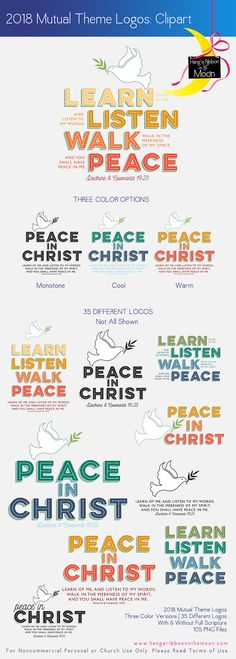 2018 Mutual Theme Logos: Peace in Christ. FREE DOWNLOAD! 35 logos in 3 color variations.