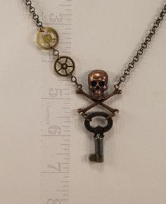 Skull Necklace w/ Key