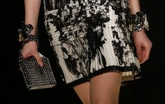 Pleated silk floral black and white dress