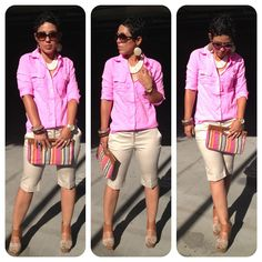 mimi g.: Neon Boyfriend Shirt & Bermuda Shorts + Make The Look