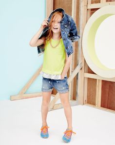 J.Crew girls' mini-hearts denim jacket, contrast ruffle pocket tank, cowgirl roll-up jean shorts in mini-hearts, and New Balance for Crewcuts K1300 sneakers.