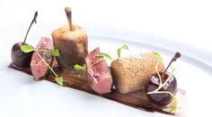 Pan fried wood pigeon, foie gras, cherries and chocolates: Bryn Williams...