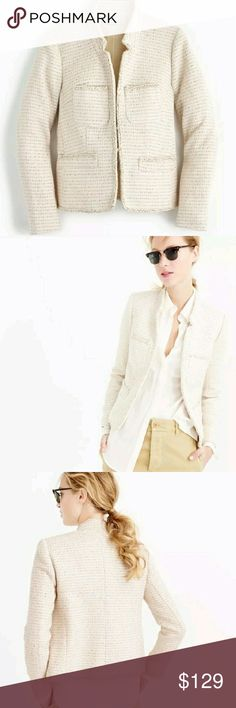 J.CREW Cream/Metallic Mix Tweed Blazer/Jacket Perfect condition! J. Crew Jackets & Coats Blazers