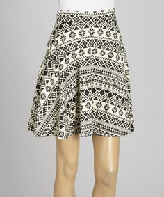 Another great find on #zulily! Ivory & Black Tribal A-Line Skirt by MOA Collection #zulilyfinds