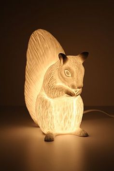 "Pretty on tables or hidden dark corners ""Squirreled Away"" lamp from Anthropologie.  Fine bone china."