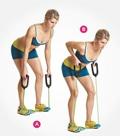 gym workout weight loss nutrition health and fitness Sculpt a tighter stomach with resistance band bent-over rows. Click through for directions PLUS 9 more ab exercises that beat crunches: www. Outdoor Workout, Tight Stomach, Workout Bauch, Resistance Band Exercises, Back Exercises, Toning Exercises, Stomach Exercises, Get In Shape, Stay Fit