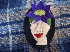 Crazy Hat Lady Spring Flower Cap Brooch Retro Felt by rustiquecat