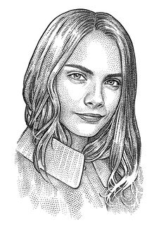 Cara Delevingne hedcut (stipple) portrait by Ekaterina Shulzhenko