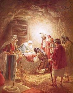 De herders vereren het kindje Jezus in de stal
