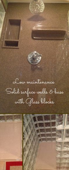 solid surface walls and base with glass block shower walls these 2 low maintenance