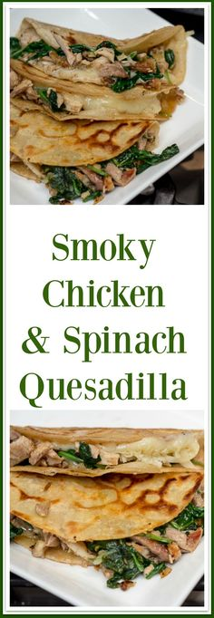 This delicious smoky chicken and spinach quesadilla is perfect for using up your leftover rotisserie chicken! via Midlife Boulevard Chicken And Spinach Quesadilla Recipe, Quesadilla Recipes, Spinach Stuffed Chicken, Leftover Rotisserie Chicken, Leftover Chicken Recipes, Leftovers Recipes, Smoked Chicken Recipes, Healthy Chicken Recipes, Cooking Recipes