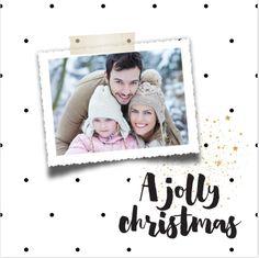 Lieve foto kerstkaart met stippen en spetters. Helemaal zelf aan te passen.