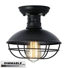 KingSo Industrial Metal Cage Ceiling Light, E26 Rustic Mini Semi Flush Mounted Pendant Lighting ORB Dome/Bowl Shaped Lamp Fixture For Country Hallway Kitchen Garage Porch Bathroom