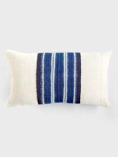 Batik Stripe Lumbar Indigo Pillow by Aboubakar Fofana