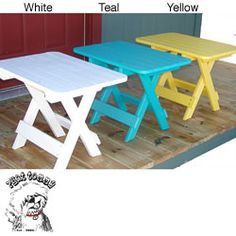 @Overstock - Enhance your patio or deck with this rectangular side table. Made out of recycled poly-wood, it is environmentally friendly and is also foldable for easy storage. You have the options of teal, white, or yellow with this outdoor table.http://www.overstock.com/Home-Garden/Forever-Phat-Tommy-Folding-Poly-Wood-Side-Table/4712067/product.html?CID=214117 $129.99
