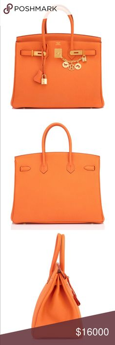 HERMES CLASSIC BIRKIN GOLD HARDWARE ORANGE TOTE NEW WITH TAGS ORIGINAL PRICE IS $23k+ PLEASE DONT MAKE RIDICULOUS OFFERS BUT I AN WILLING TO TRADE FOR A GOOD VALUE ITEM LIKE ANOTHER HANDBAG OR WATCH - OPEN TO REASONABLE OFFERS. I have more pictures available. - charm is not included it. Hermes Bags Shoulder Bags