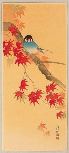Blue Bird in Autumn: Japanese Art, Sozan Ito