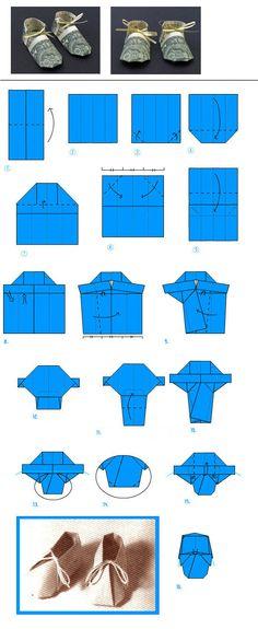 Baby Booties Diagram - Money Shoe Origami