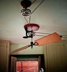Matt and I will be installing belt & pulley fans on the cross-beams in our vaulted-ceiling dining/great room!  We may even design and build them ourselves!