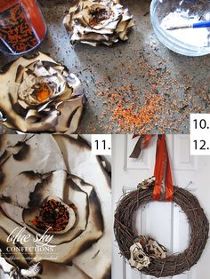 Paper Plates  Wreath Tutorial..like how the bottom right one looks!