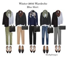 """Winter 2016 Wardrobe - Blue Shirt"" by bluehydrangea ❤ liked on Polyvore featuring Madewell, Banana Republic, J.Crew, 7 For All Mankind, Boden, Echo, MANGO and Dr. Scholl's"