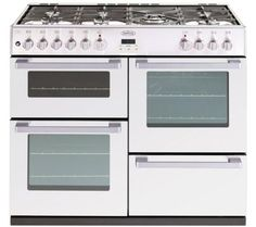 The Belling Belling DB4 100DF offers two ovens and a separate grill for cooking flexibility and hosts a powerful and responsive gas hob with seven burners, incl...