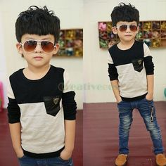 Fashion Kids Toddlers Boys Black Gray Metal Leoperd Head 100%Cotton Tops T-Shirt #Unbranded #Dressy