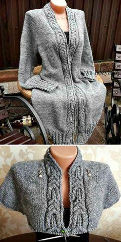 Raglan Knit Long Cable Cardigan - Free Pattern