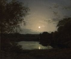 "catonhottinroof: ""Peter Skovgaard (1817-1875) Forest lake in the moonlight, 1837 """