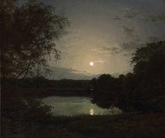 "catonhottinroof: ""Peter Skovgaard (1817-1875) Forest lake in the moonlight, 1837 """
