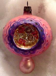 VINTAGE-MERCURY-GLASS-CHRISTMAS-ORNAMENT-TRIPLE-INDENT-KNOB-PINK-PURPLE//unusual colors