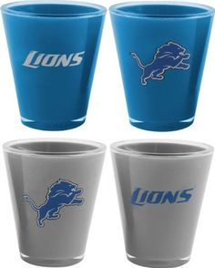 NFL Detroit Lions 4-Pack Acrylic Team Color Acrylic Shot Set by Northwest. $12.99. Whether your team is playing at home or away the 4 pack Acrylic Shot Glass Set by The Northwest Company has got you covered.  Both primary and secondary team colored shots hold 1 fluid ounce and feature official team logos.  These double wall shot glasses are durable and unbreakable.  This set adds to any ultimate fans' collection.  Top rack dishwasher safe.