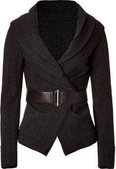 Donna Karan Black Belted Stretch Tweed Jacket