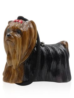 Timmy Woods Brown Gloss Carved Wood Yorkie Terrier Shoulder Handbag