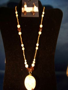 Natural Howlite Necklace & Earrings