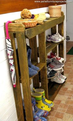 A common wooden pallet shoe rack might sound like a useless stuff apparently that is now worth being discussed here at this forum, but trust me if you don't have a proper wooden shoe rack at your house, your house is going to be all messy. Shoes are going to be scattered all around and you will not tolerate all this if you are a discipline loving person.
