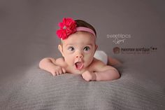 Shocking Pink Flower Headband, Chevron, Scallop, Baby Headband, Infant Headband, Newborn Headband, Photo Props, Baby & Toddler, - pinned by pin4etsy.com