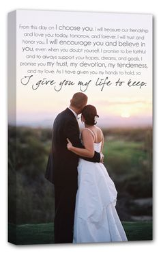 A sweet keepsake reminder of your wedding day and the vows you made to one another. So in love with this custom canvas!