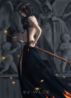 Amazing value painting of black skirt and another surrounding.