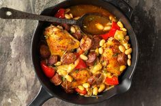 This Spanish chicken with beans is a one-pot wonder that is ready in under and hour. This family favourite is packed with spicy chorizo, succulent chicken and soft cannellini beans. Perfect for feeding a lot of hungry people.