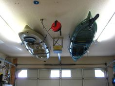 Kayak Storage - maybe one day I'll give in and hang one in my bedroom, who needs ceiling space anyways.