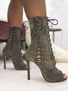 Shop Boots Eyelet Lace-up Open Toe Thin Heeled Boots 0b03f9b6c201